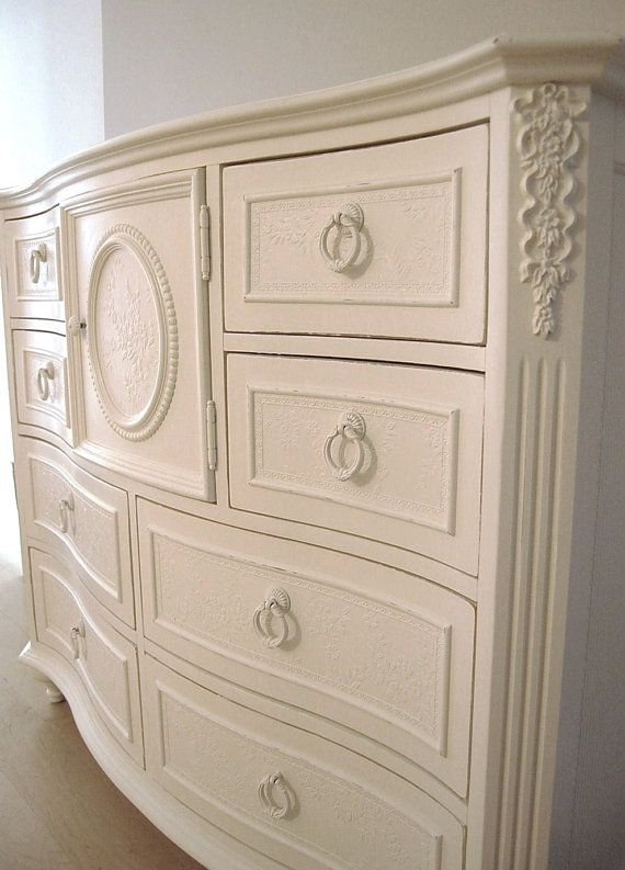 Stunning Sweet Distressed Cottage Chic Embossed Huge Dresser Cabinet On Etsy 395 00