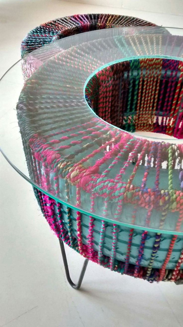 Upcycled furniture using rubber tyres, rope, by Retyrement Plan More