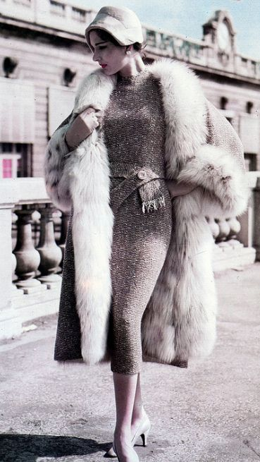 Pierre Balmain Design,1957. Love the sparkly sweater dress - wouldn't you love to curl up in this coat?  #anandco #furonline #furfashion