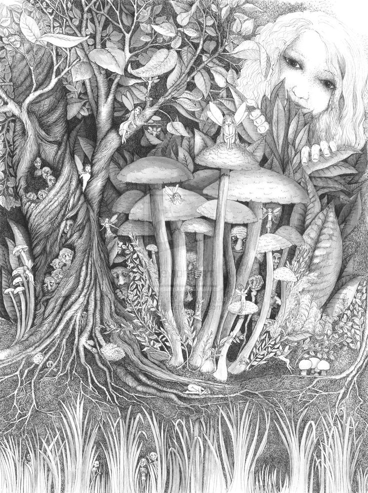 fantasy mushroom coloring pages - photo#23