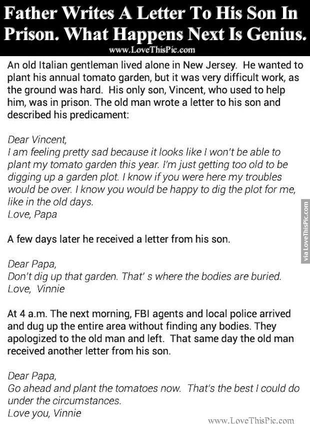 Father Writes A Letter To His Son In Prison. What Happens Next Is Genius. funny jokes story lol funny quote funny quotes funny sayings joke hilarious humor stories funny jokes