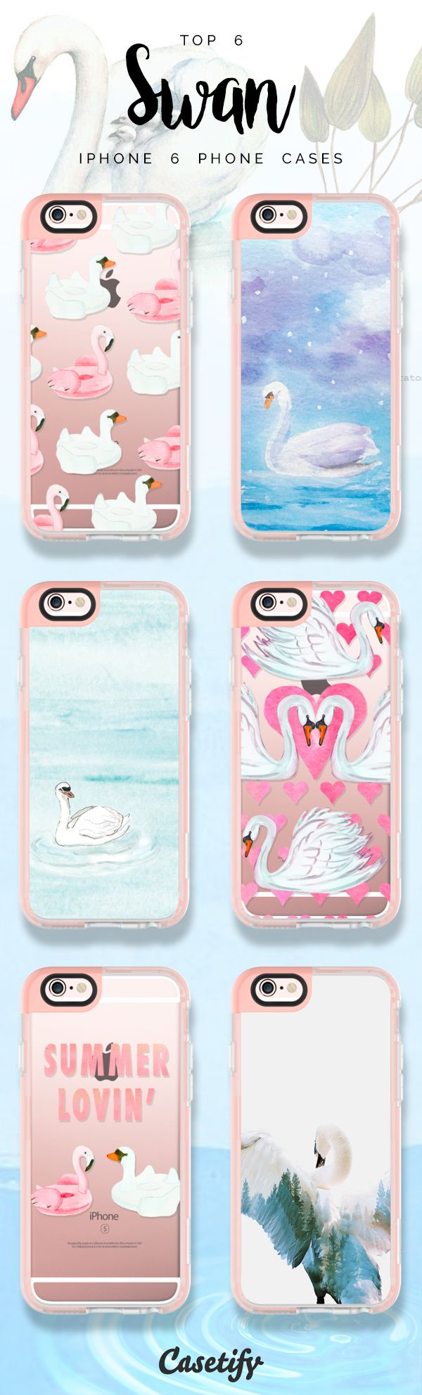 Top 6 Swan iPhone 6 protective phone case designs | Click through to see more iPhone phone case idea >>> https://www.casetify.com/collections/iphone-6s-swan-cases?device=iphone-6s | @casetify
