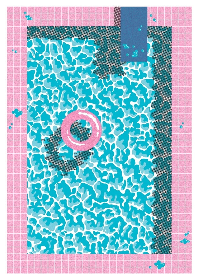 This is an illustration but a simple and fun idea for a 'pool quilt'.