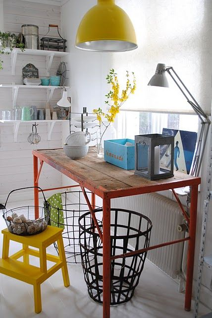 Love the light fixture for a play space.  DIY by spray painting an IKEA Foto.  Add a wire mesh guard to protect light bulbs from errant balls and toys.