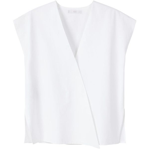 PREMIUM - Croosover Poplin Blouse featuring polyvore women's fashion clothing tops blouses white short sleeve top mango tops white surplice top white top mango blouse ($40)