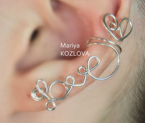 """Filo sinistra orecchio cartilagine bracciale Piercing No scrivere """"LOVE"""" con un piercing cuore-falso - argento placcato"""