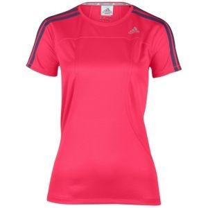 adidas Response Drei Streifen S/S T-Shirt - Women's - Running - Clothing - Bright Pink/Urban Sky
