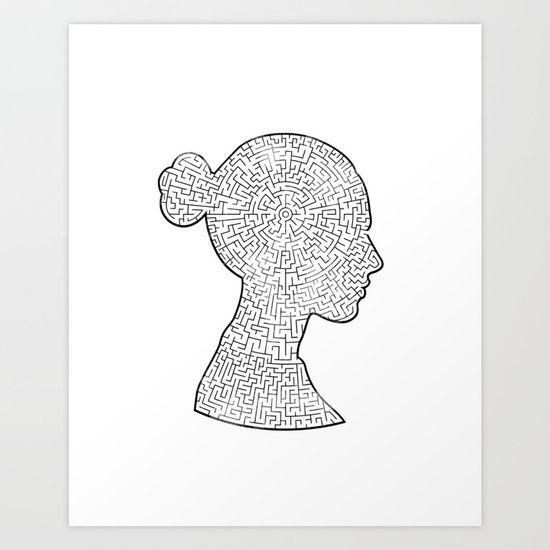 Mind Maze Portrait Art Print