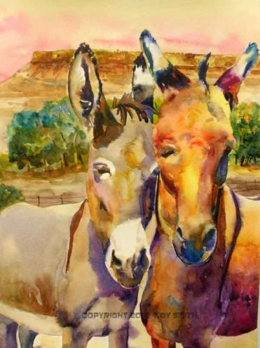 Desert Donkeys Original Art Painting By Kay Smith