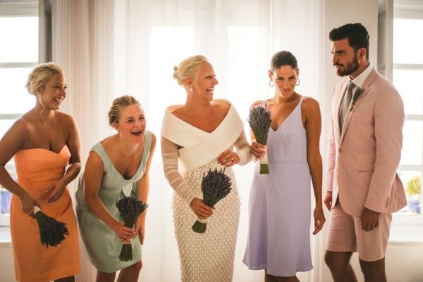 Balenciaga Wedding Gown for Santorini Wedding | Image by Sam Hurd | Stella And Moscha Exclusive Greek Island Weddings  #balenciaga #fashiondesigner #designerweddingdress #hautecoutoure