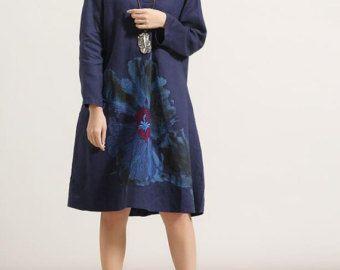 Bloom / losse lange lange mouwen jurk / groot formaat door MaLieb