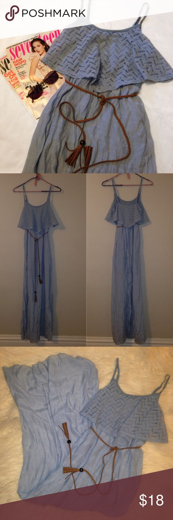 Lace Powder Blue Maxi Dress Brand ; Charlotte Russe  Size ; XS / extra small  Description ; maxi dress with lace chevron top, comes with belt!   Selling dress only! Sunglasses & magazines are not included! Charlotte Russe Dresses Maxi