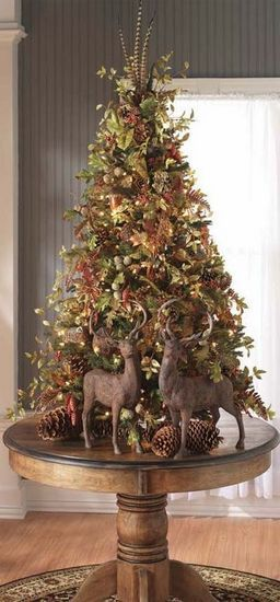 Table top trees are a current trend, they take up less space and can exquisitely decorated.  Perfect if you have pets or a toddler that likes to get into your tree! Going to cut down an itty bitty tree this year!