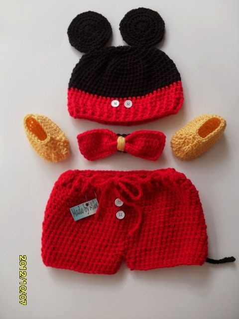 Mickey Mouse crocheted baby boy  4 piece outfit by MadebyMily...this is so cute!