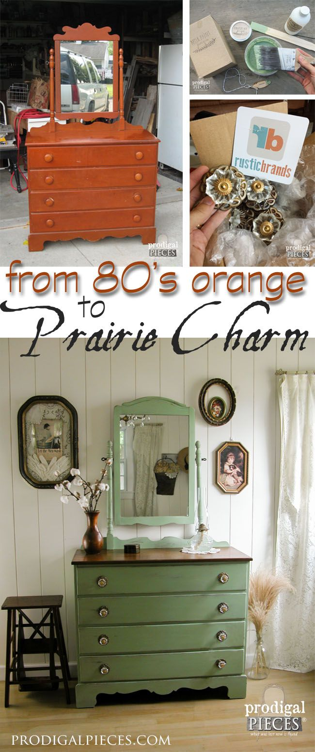 Goodbye 1980's orange and hellow prairie charm. An outdate dresser gets a new look with milk paint and pulls. Come see! by Prodigal Pieces www.prodigalpieces.com #prodigalpieces