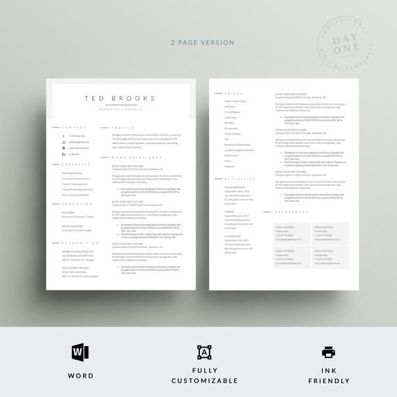 Professional One Page Resume Template Teacher Cv Template Etsy Modern Resume Template One Page Resume Cv Template