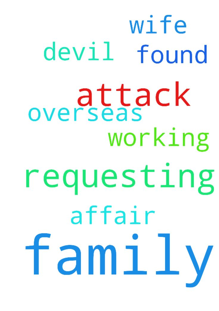 am requesting prayer for my family which is under attack - am requesting prayer for my family which is under attack by the devil my wife is working overseas and i have found out she is having an affair.  Posted at: https://prayerrequest.com/t/dJb #pray #prayer #request #prayerrequest