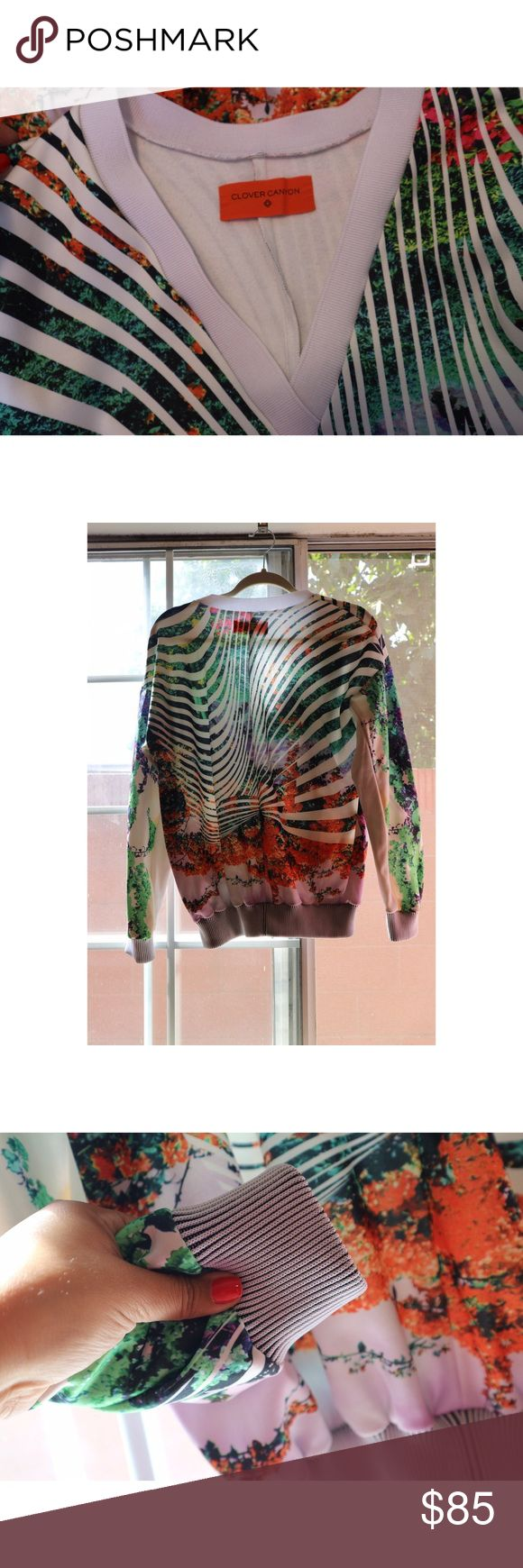 Clover canyon sweater Wonderful multi colored v neck sweater. Clover canyon brand as seen on some of the hottest celebs such as Beyoncé . Comfortable and stylish . Perfect staple for fall. Clover Canyon Sweaters V-Necks
