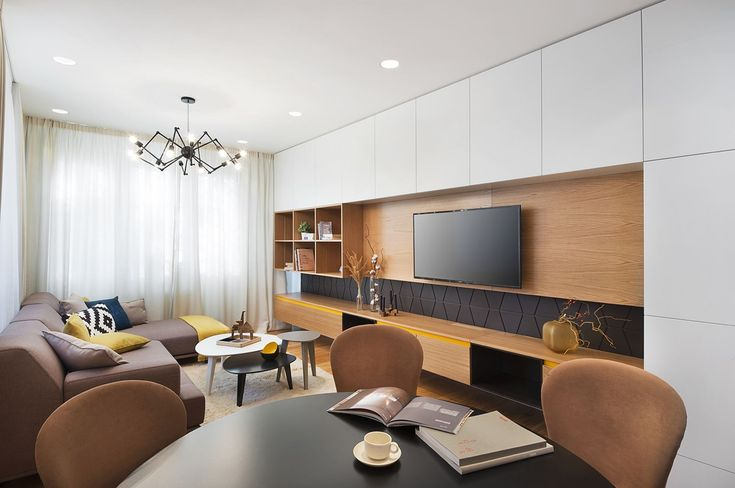 foorni.pl | Nowoczesne mieszkanie w Sofii, zabudowa salonu z telewizorem