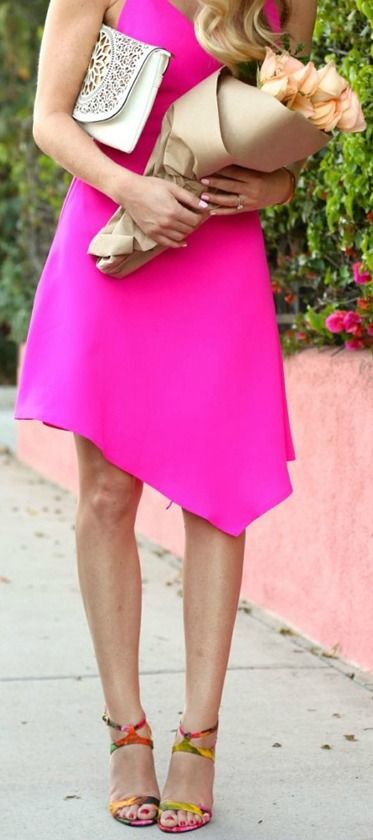 Hand Over Heart Neon Pink Dress