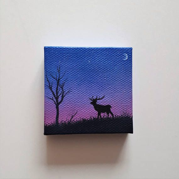 "TITLE // ""Deer At Dusk"" SIZE // 2 inch x 2 inch, 1 cm thick MEDIUM // Professional grade acrylics on stretched canvas. I used iridescent colors for all but the deer. That means the painting has a nice sparkle to it in the light. OPTIONS // If you want this miniature painting turned"
