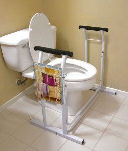 Jobar International JB4349 Deluxe Toilet Safety Support by Jobar. $35.80. height: 26.25. width: 19. length: 29.5. Great Gift Idea.. Can be packed down to 23 X 4 X 19.5. Easy solution to help the elderly and handicapped be more safe and independent. Sturdy arms rise to meet the user, making it easier to sit and rise in safety. Includes a handy magazine rack and slip resistant padding at bottom. Can hold up to 300 lbs. length: 29.5. height: 26.25. width: 19. Can be packed down ...