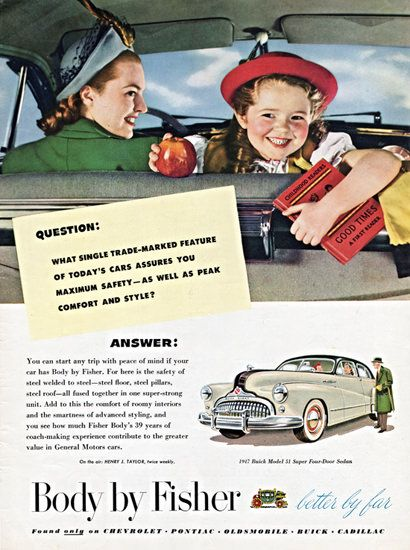 Buick 51 Super Sedan Body By Fisher 1947 - Mad Men Art: The 1891-1970 Vintage Advertisement Art Collection