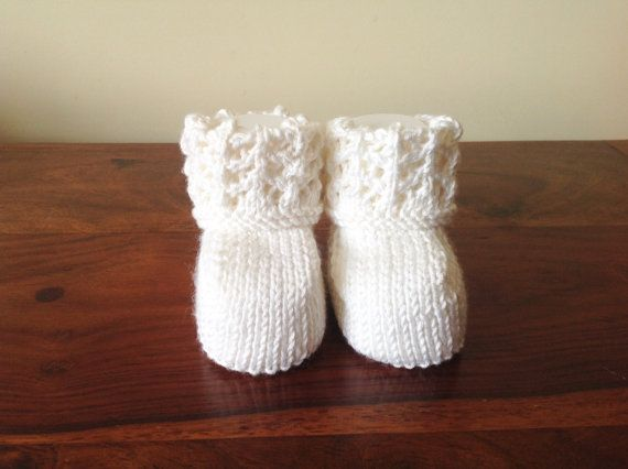 White Crib Shoes White Baby Booties Baby Shoes by Pinknitting