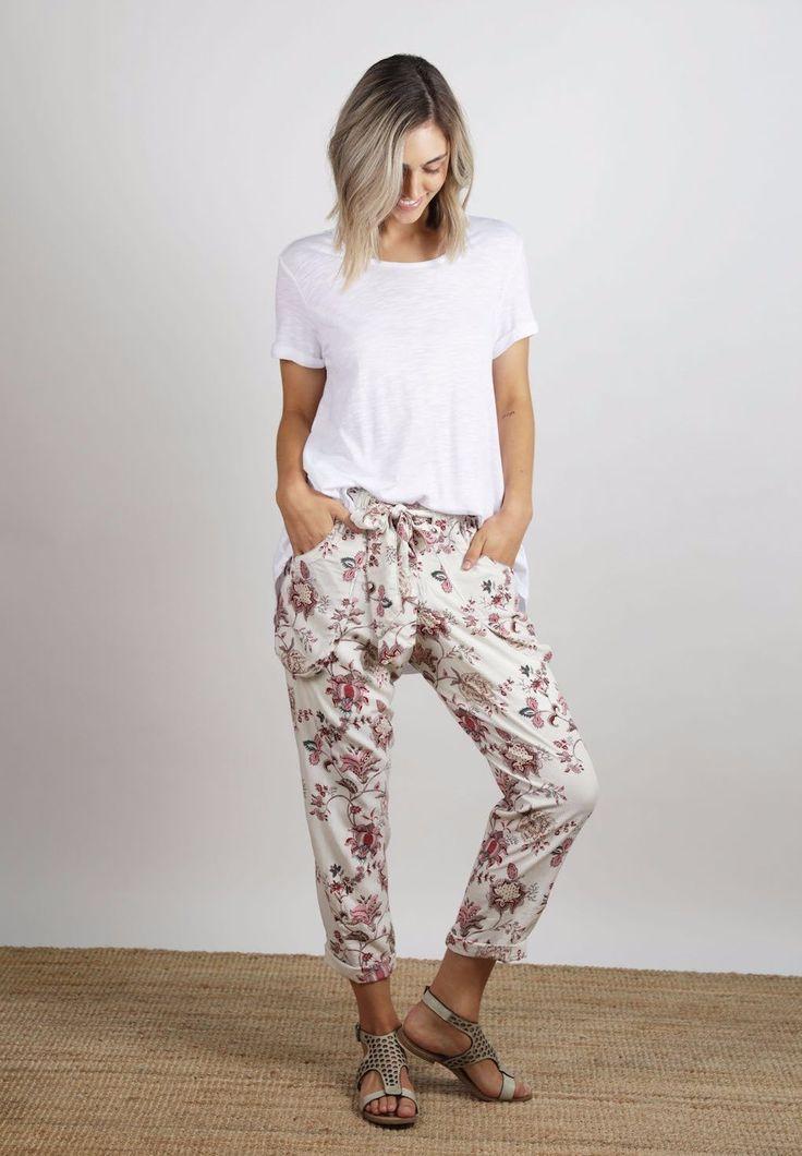 Ellis & Dewey - Cream Floral Print Pant (Restocked)