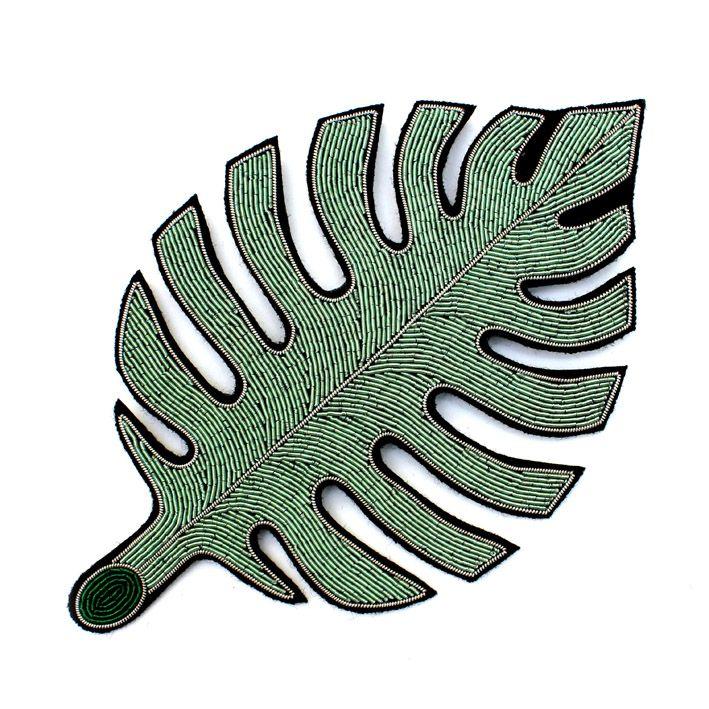 MaconetLesquoy – SHOP » trés grande broche brodée « feuille de caoutchouc »