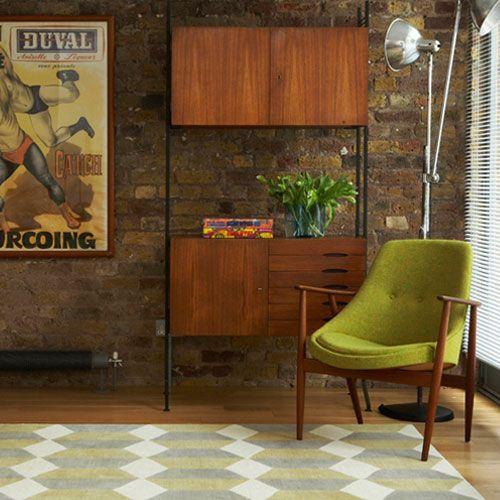 Green Armchair | Teak String Shelves | Mid Century Living