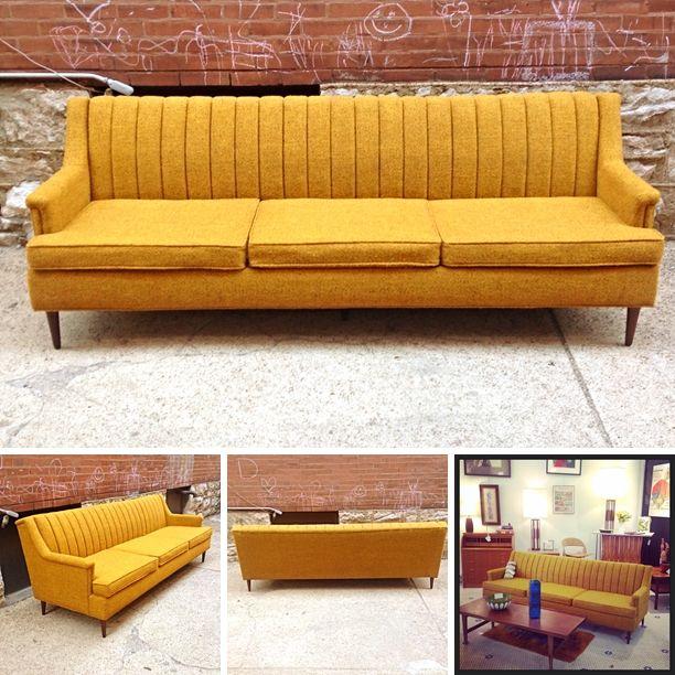 Mid Century Danish Modern Flexsteel Sofa In Yellow. 10 best A Little History images on Pinterest   Vintage ads