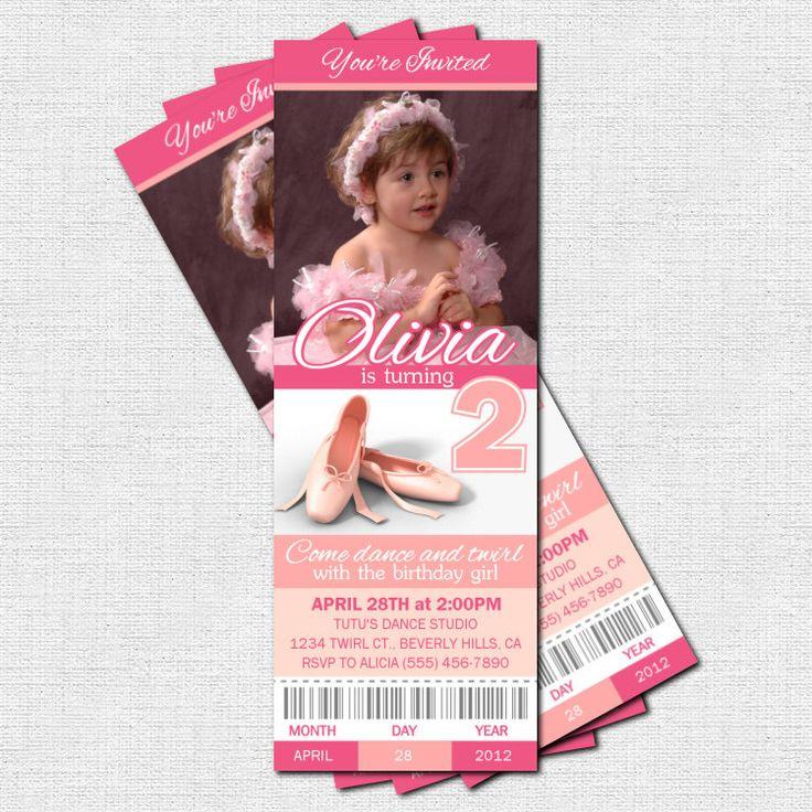BALLET TICKET INVITATIONS Ballerina Birthday Party or Dance Recital - (print your own). $9.00, via Etsy.