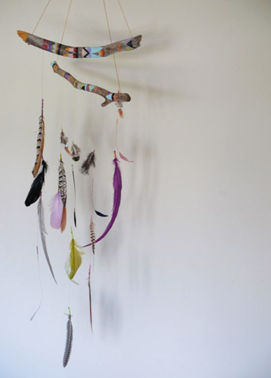 driftwood mobile ~ After All: Feather Mobile, Idea, Craft, Dreamcatcher, Feathers, Painted Stick, Diy, Dream Catcher, Mobile