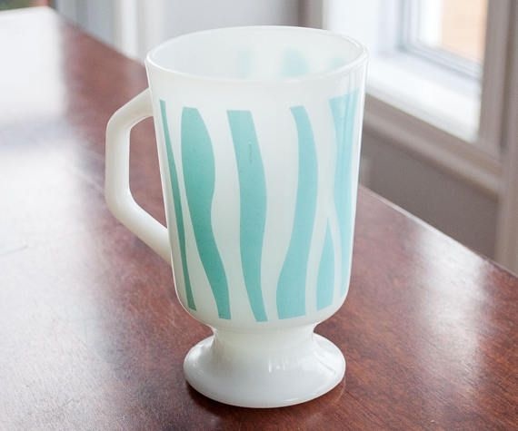 Very rare Footed Fire King Mug turquoise stripe  Footed Fire