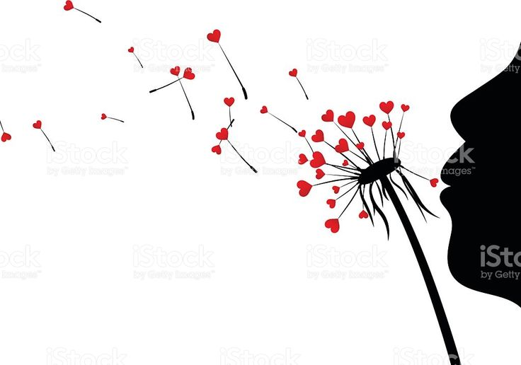 Valentine's background with love dandelions. royalty-free stock vector art
