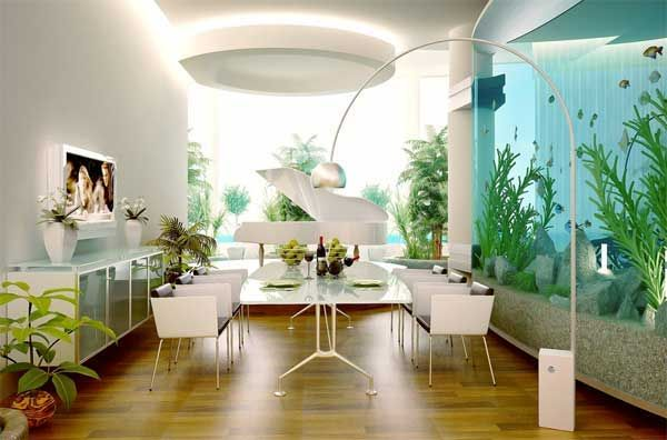 The aquariums able to use as great corner piece, creative room divider, otherwise as unique wall unite decor ideas.
