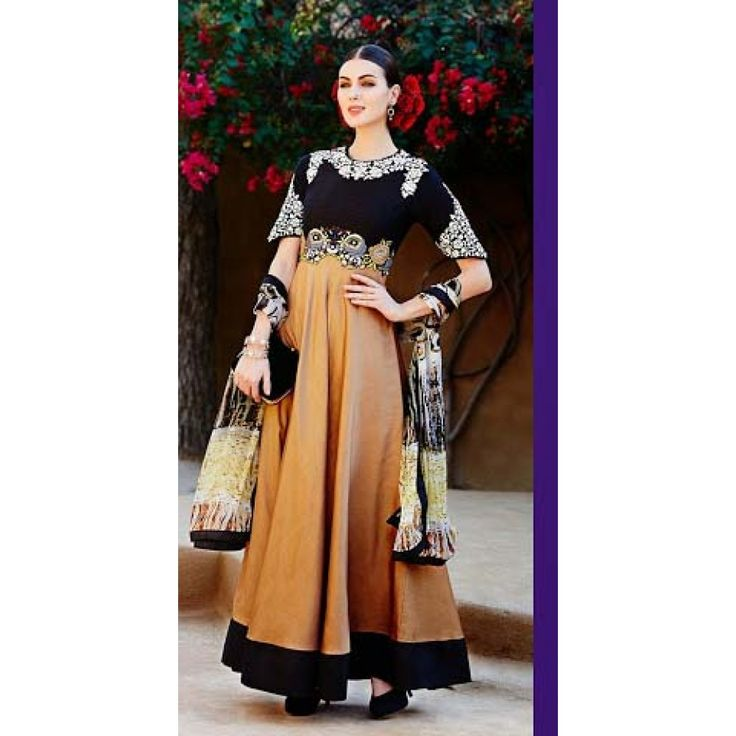 Floor Length Style Suit in Black and Brown for Ethnic Look