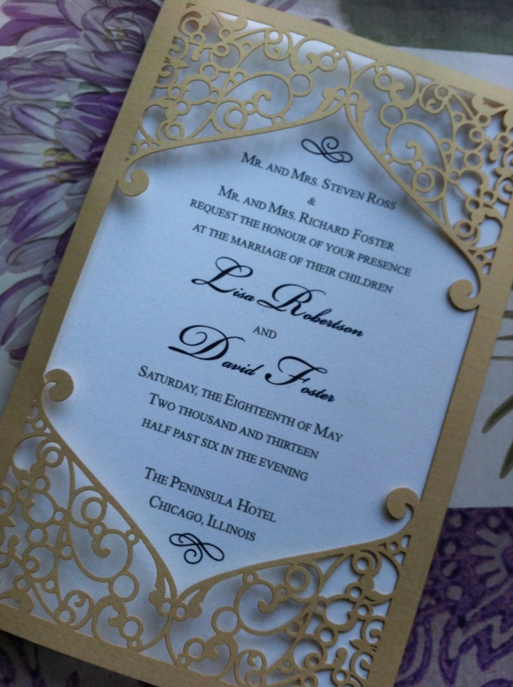 Laser Cut Wedding Invitation Pocket Elegant Swirl