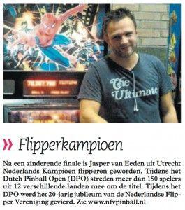 Jasper van Eeden, winnaar Dutch #Pinball Open 2012 in #Amsterdam.