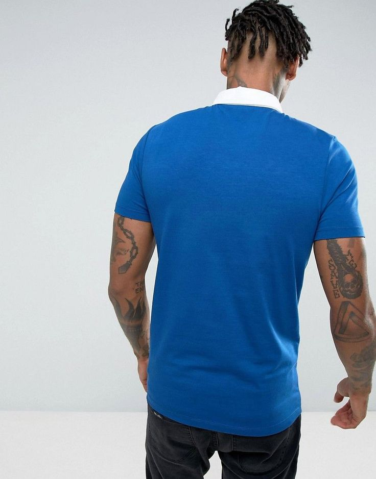 ASOS Muscle Rugby Polo Shirt In Blue - Blue