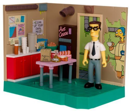 "The Simpsons Series 15 Playset Power Plant Lunchroom with Frank Grimes by Playmates. $89.95. Simpsons - World of Springfield Interactive Environmnet (Playset) - Nuclear Power Plant Lunch Room w/exclusive Frank Grimes figure and custom accessories. Place compatible ""World of Springfield"" figures in ""Nuclear Power Plant Luch Room"" to hear them talk!. Includes over 30 phrases! Interacts with over 40 figures!. Note: Recommened age printed on box is ""Ages 4 and Up"" contrar..."