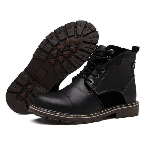 High Top Metal Eyelets Calssic Lace Up Oil Leather Work Boots ($52) ❤ liked on Polyvore featuring men's fashion, men's shoes, men's boots, men's work boots, guy stuff, men, newchic, shoes, mens brown lace up boots and mens black lace up boots