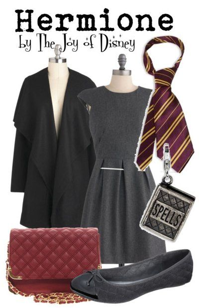 Dress, $69.99  ;  Coat, $67.99  ;  Shoes, $19.99  ;  Purse, $28.14  ;  Gryffindor tie, $7.69  ;  Book charm, $39.99 Outfit inspired by Hermione Granger from the Harry Potter movies!