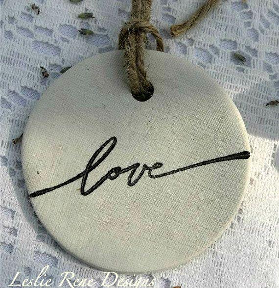 Clay Tag / Ornament  Love by lesgard on Etsy, $3.00