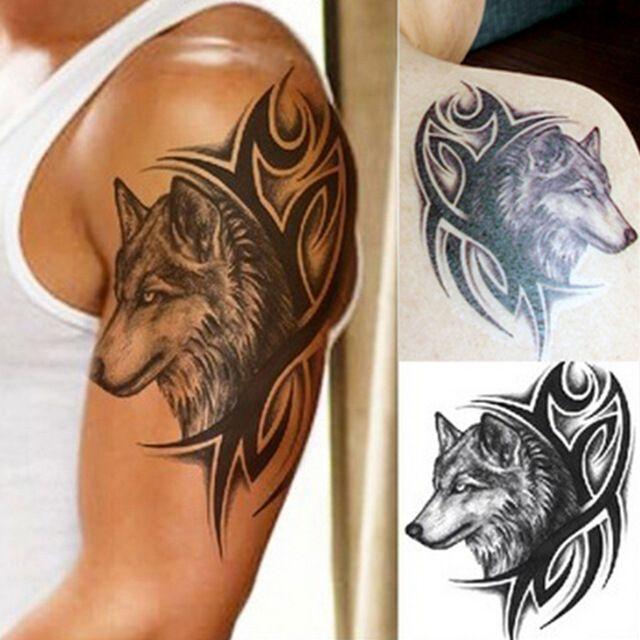 Переброска воды поддельные татуировки Водонепроницаемый Временные Татуировки наклейки мужчины женщины волк татуировки флэш татуировки моды #women, #men, #hats, #watches, #belts