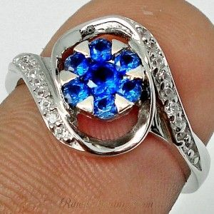 Blue Sapphire Sterling Silver 925 Ring 5.5