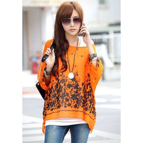 Batwing Sleeves Scoop Neck Tiny Floral Print Plus Size Casual Women's T-Shirt, ORANGE, XL in Tees & T-Shirts | DressLily.com