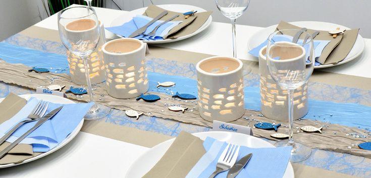 Tischdekoration in Hellblau / Pearl mit Fischen | Tischdeko-Shop