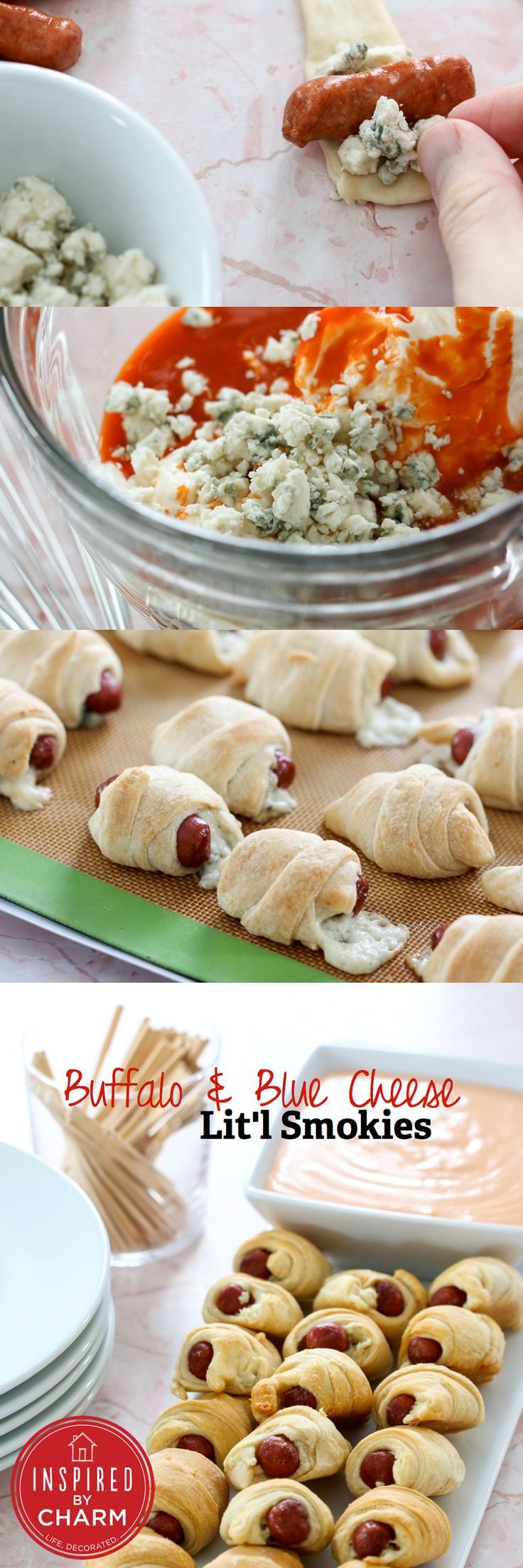 WANT --> Buffalo & Blue Cheese Lit'l Smokies // totally perfect, fun and flavorful for game day! via Inspired by Charm #superbowl #appetizer #wings